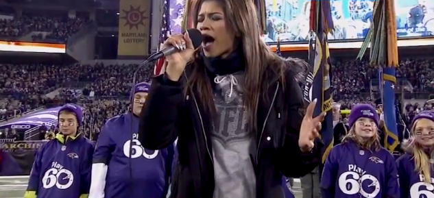 6c4f60dec Zendaya Coleman took the field to sing the national anthem before the  Baltimore Ravens went on to beat the Pittsburgh Steelers in the  Thanksgiving Day game ...
