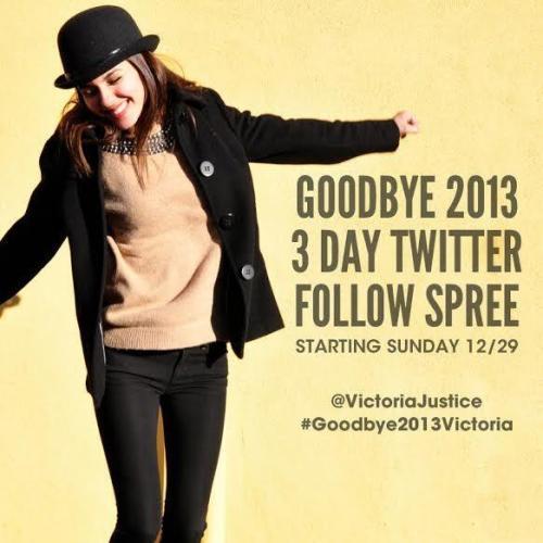 Victoria Justice, Twitter Follow Spree