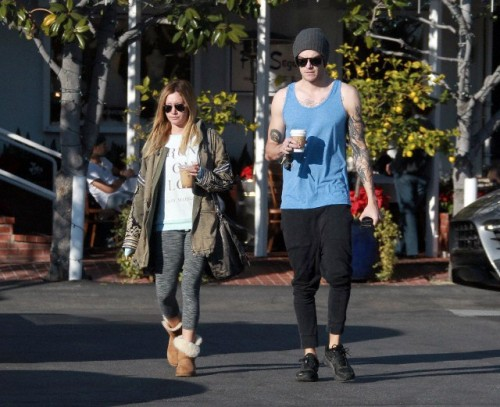 Ashley Tisdale and Fiance, Musician Christopher French leaving Fred Segal restaurant in West Hollywood.