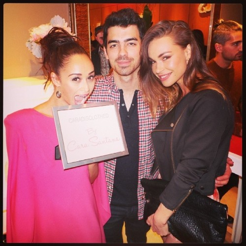 Joe Jonas, Blanda Eggenschwiler, + Cara Santana at Launch of CaraDisclothed.com