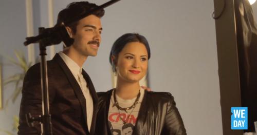 Joe Jonas + Demi Lovato, We Day Ad - BTS