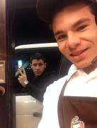 Nick Jonas in the Dunkin Donuts drive thru in RI