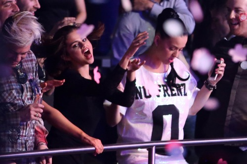 Selena Gomez + Katy Perry at Britney Spears' 'Britney: Piece Of Me' Grand Opening Performance