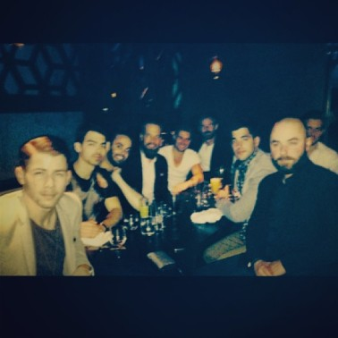 Nick, Joe, + friends at dinner at Hakkasan Restaurant - 1/18