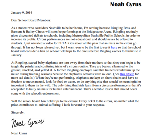 Noah Cyrus Letter