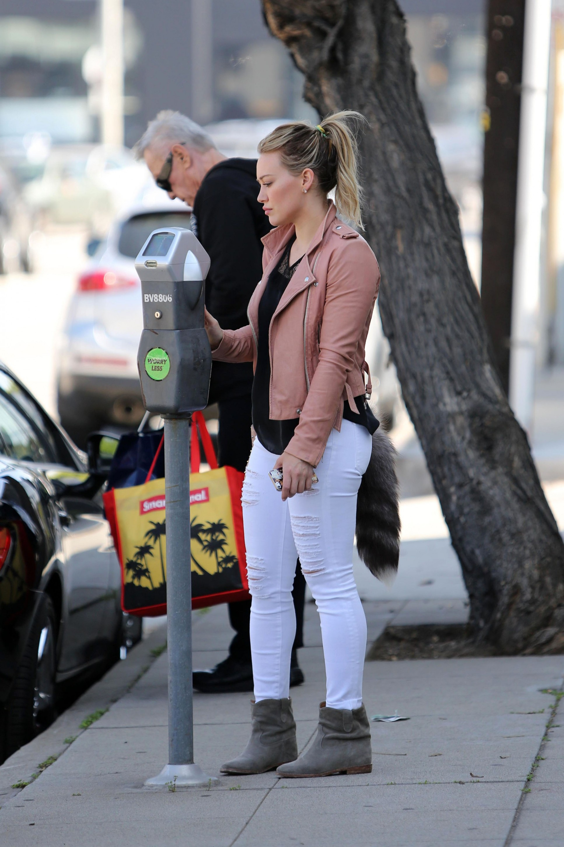 Hilary Duff Pink Leather A Raccoon Tail Check Out All