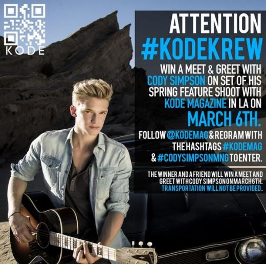 Win a meet greet with cody simpson teeninfonet you could easily win a meet and greet with the one and only cody simpson on the set of his spring feature shoot with kode magazine on march 6th m4hsunfo