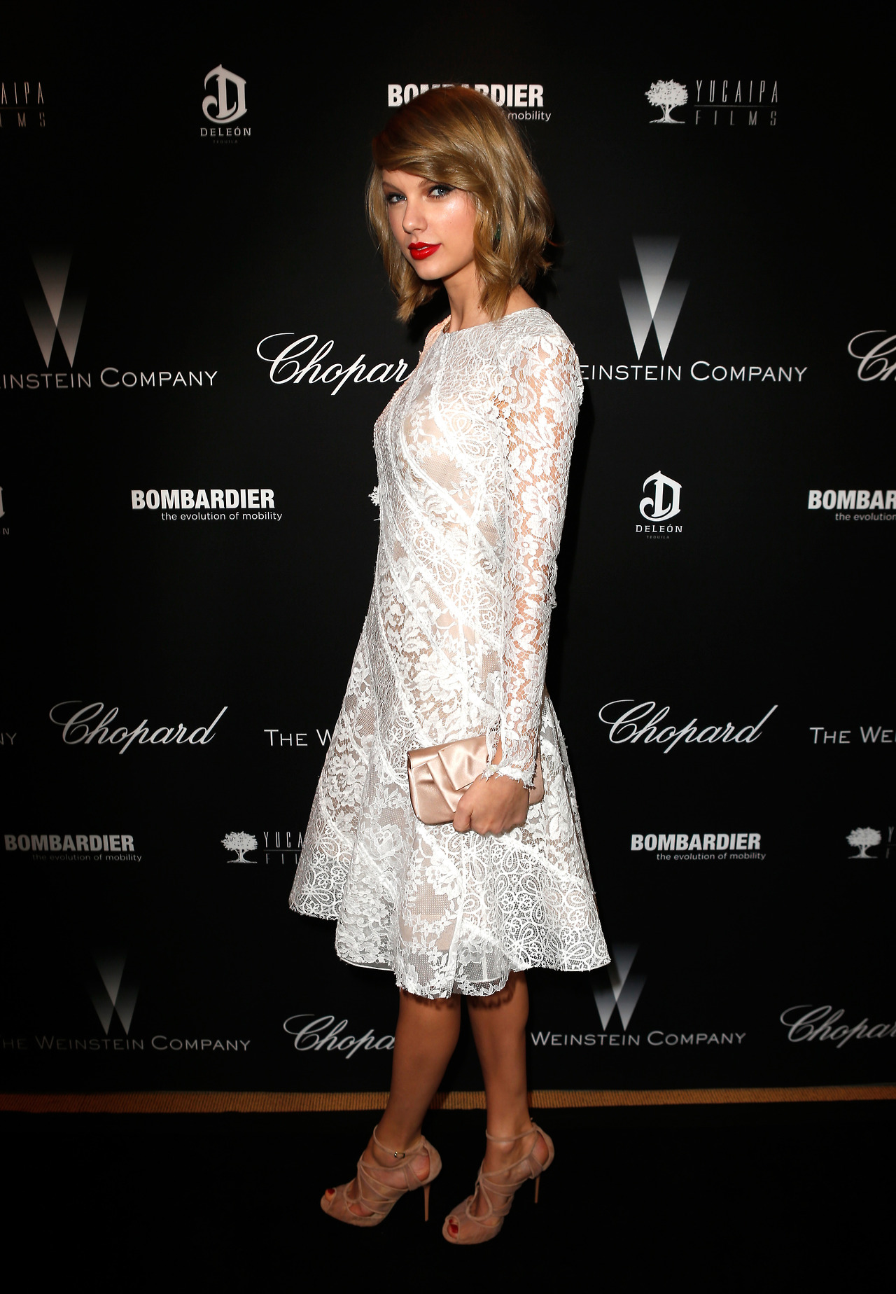 Taylor Swift: Lovely In Lace At Weinstein Company Pre-Oscar Party ...