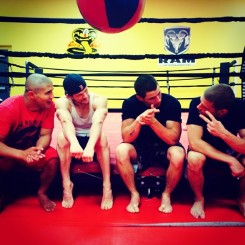 @nickjonas: Last day of training camp with our coach @joedaddymma and my cast mates @mattlauria @johnathanmtucker @directtv