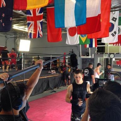 @tjjefferson: Today's office-Master Toddy's Muay Thai gym in Pomona. Shooting #behindthescenes footage for a new #DirecTv show with #NickJonas, #MattLauria, #JonathanTucker & Joe 'Daddy' Stevenson. #soonyoullunderstand