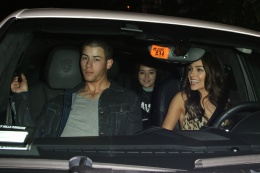 Nick Jonas and his girlfriend Olivia Culpo seen leaving Chateau Marmont with a female companion in West Hollywood