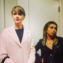 @taylorswift: We decided we were dressed like a strait-laced mom and her rebellious teen daughter. #YouDontUnderstandMeMom!!! #StormsOut #ComeBackHere,YoungLady! @therealsarahhyland