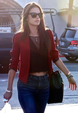 Alessandra Ambrosio holding hands with her husband in Santa Monica, CA