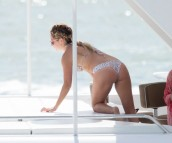 Bikini babes Ashley Tisdale Celebrates Bachelorette Party With Vanessa Hudgens on a yacht, Miami.