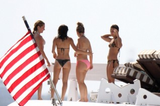 Vanessa Hundgens and Ashley Tisdale Boating Miami