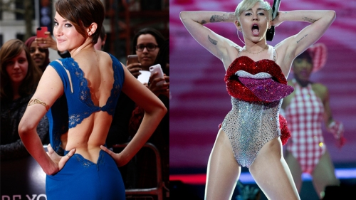 Actress Shailene Woodley (L) and singer Miley Cyrus (R).