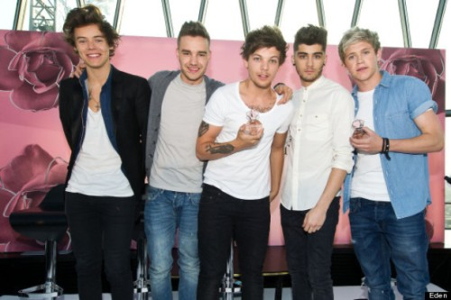 One Direction debut fragrance 'One Moment'. The Gherkin, London.