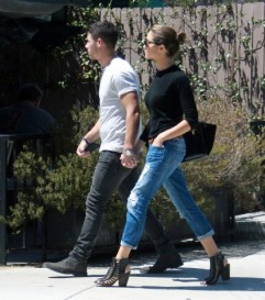 Nick Jonas and Olivia Culpo out and about in West Hollywood.