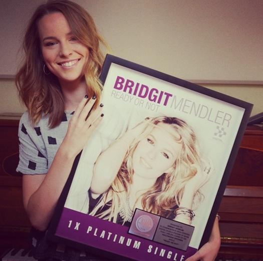 Bridgit Mendler pictured with her Platinum plague-2014.