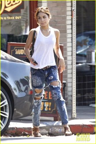 *EXCLUSIVE* Vanessa Hudgens rocks the ripped denim jeans look in Los Feliz