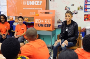 2014 Trick-Or-Treat For UNICEF Spokesperson Zendaya Visits P.S. 163 Alfred E. Smith Elementary