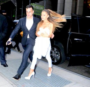 Ariana Grande arrives at Billboard Women of Music Awards in all white