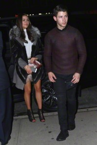 Nick Jonas and girlfriend Olivia Culpo return from a long night out on the town in NYC